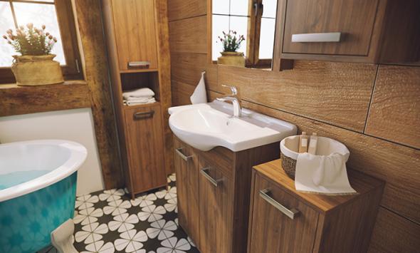 Meble łazienkowe - łazienka w drewnie